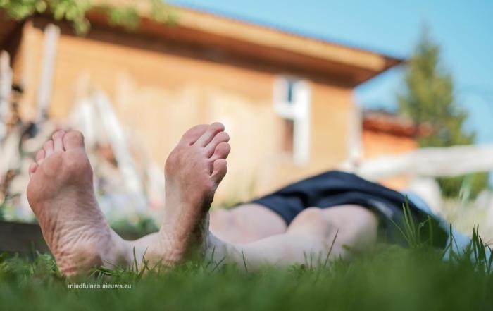 virtualisatieoefening foto van relaxe man liggend op gras