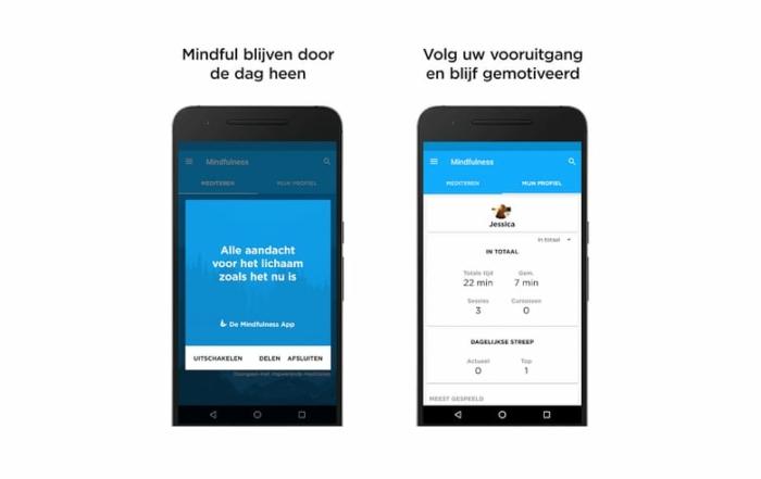 screenshot android app voor mindfulness meditatie