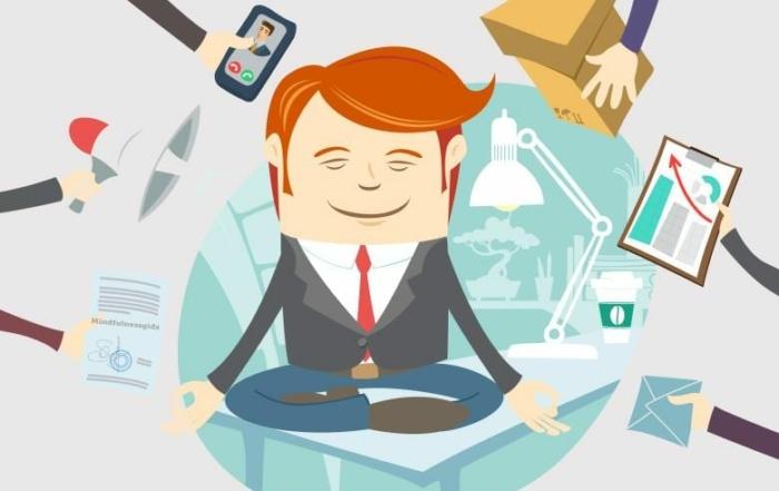 mediterende kantoorman