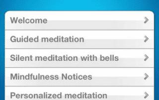 screenshot app voor mindfulness en meditatie